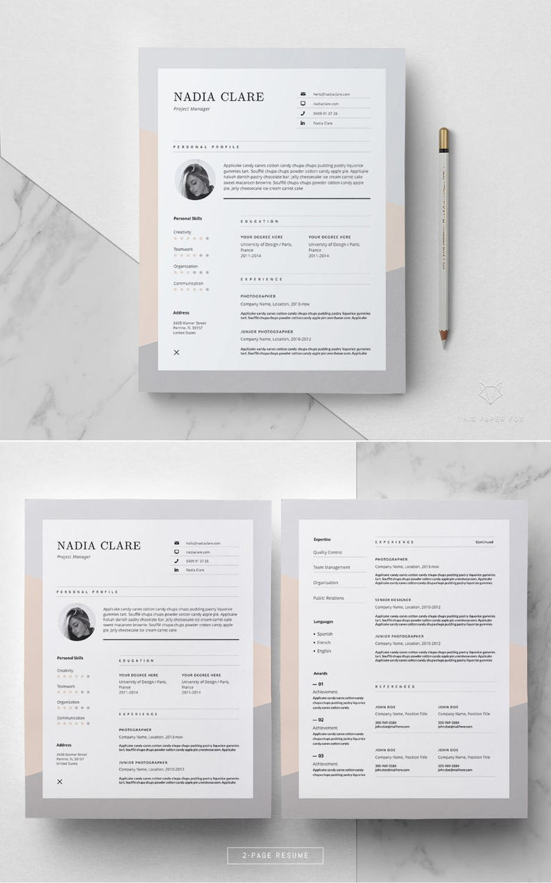 Resume Template For MS Word Elegant Design 3 Page