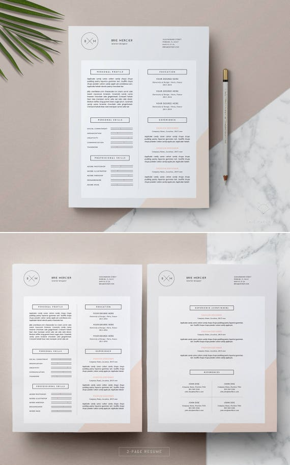 Professional Resume Template 3 Page Creative Resume Cover Letter