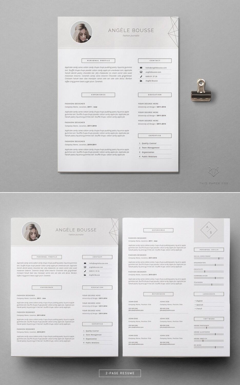 Feminine Resume Template Microsoft Word Cv Stylish Resume Etsy