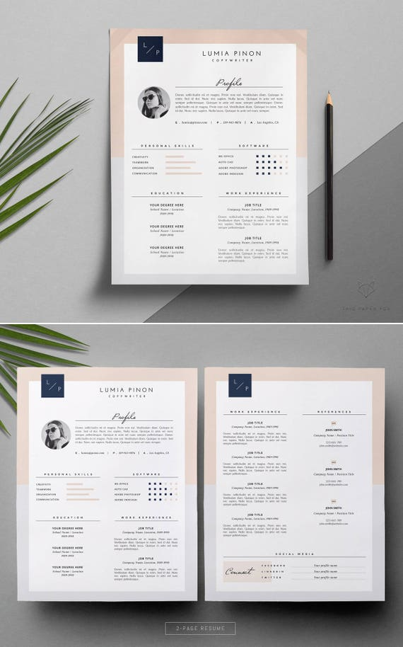 creative resume template stylish resume template cover etsy