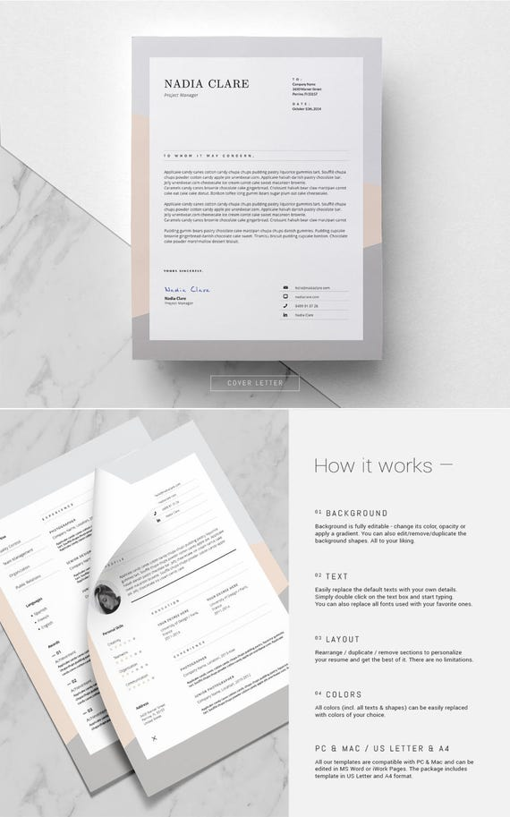 Resume Template For Ms Word Elegant Resume Design 3 Page Cv Template Feminine Resume Free Icon Pack Instant Download Nadia