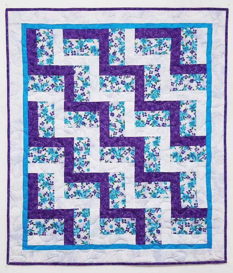 Purple /& turquoise rail fence cribbaby quilt 33x38