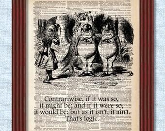 Dictionary Art Print Tweedledee and Tweedledum Alice in Wonderland Decor Logic Contrariwise Looking Glass Wall Book Lewis Carroll B2G1
