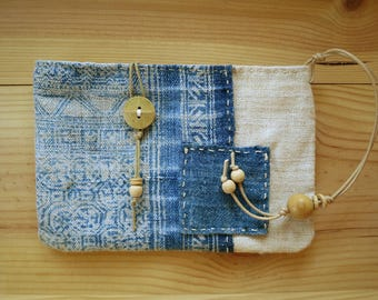 Natural indigo hemp textile pouch