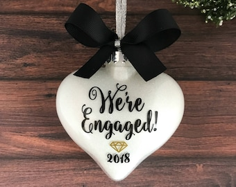 Personalized Engagement Ornament For Couple, Engagement Gifts For Couple, Newly Engaged Ornament, Engaged Christmas Ornament Personalized