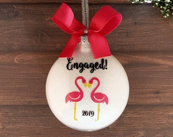 Engagement Gifts For Couple, Engagement Ornament Personalized, Engagement Gift, Engaged Ornament, Engagement Gifts For Best Friend, Flamingo