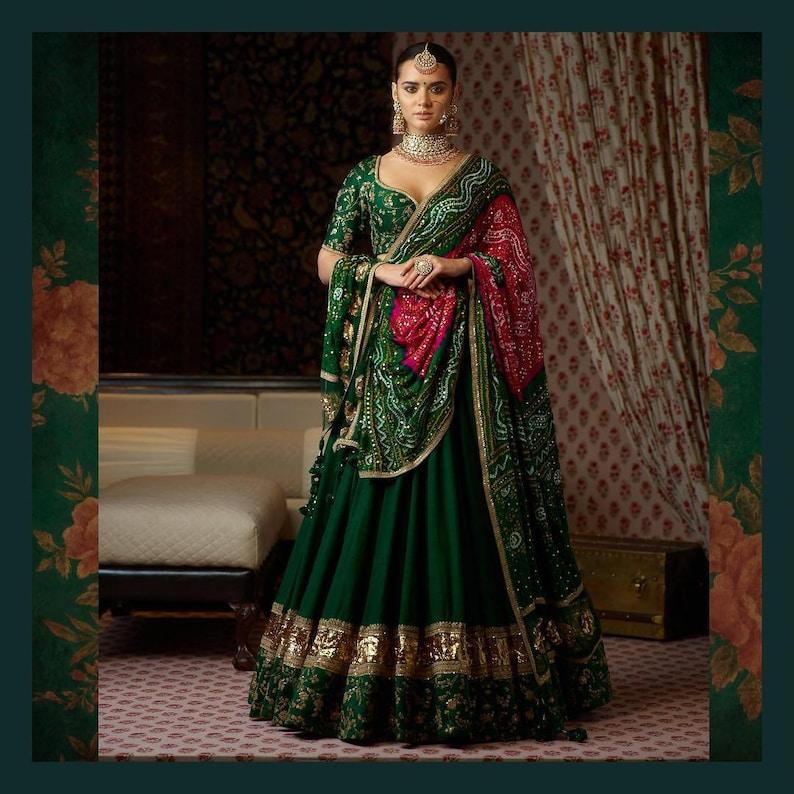 72d0d2515 Sabyasachi Inspired Green Colour Lehenga Choli | Etsy