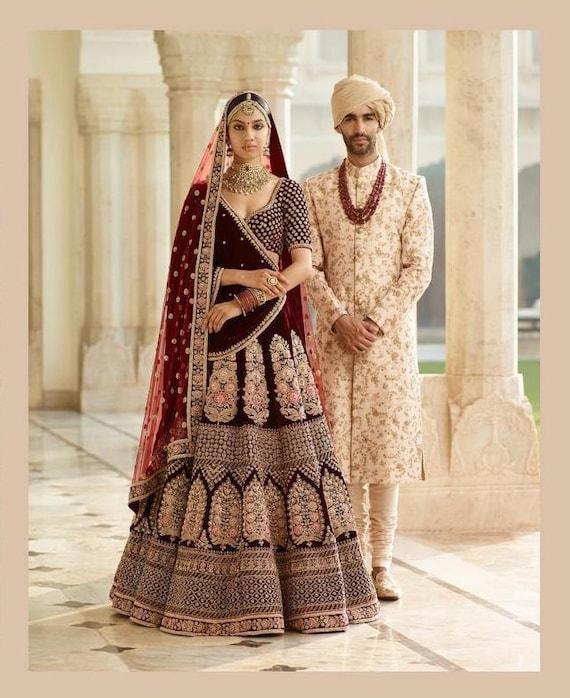 ce92266375c554 Sabyasachi Inspired Blood Maroon Wedding Lehenga Choli | Etsy