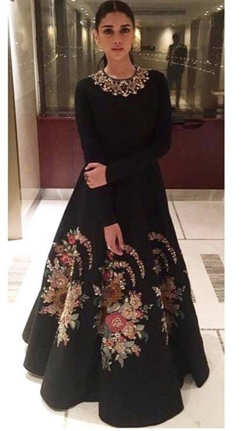 ec9e79728e Sabyasachi Inspired Black Colour Gown with multi colour | Etsy