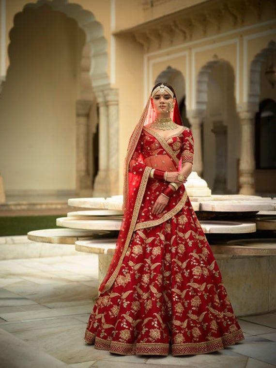 fa9b59a6ffb799 Sabyasachi Inspired Red Color Wedding Lehenga Choli   Etsy
