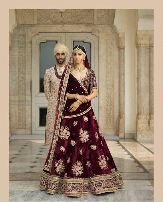ce92266375c554 Sabyasachi Inspired Blood Maroon Wedding Lehenga Choli   Etsy