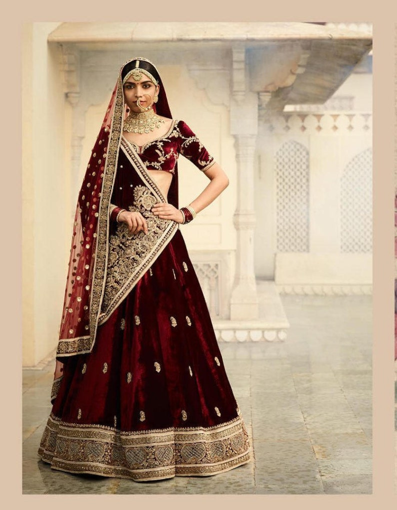 602dd860b4 Sabyasachi Inspired Blood Maroon Wedding Lehenga Choli | Etsy