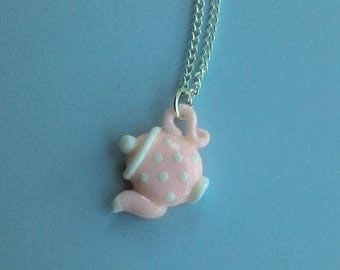 Pink teapot necklace