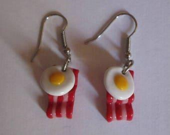 Bacon + eggs earrings