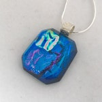 Blue Beveled Dichroic Glass Necklace