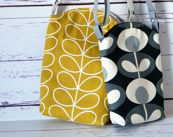 Mustard and Cream or  Grey Flowers  Medium and Mini Cross Body Bucket Bag -  Holiday Bag