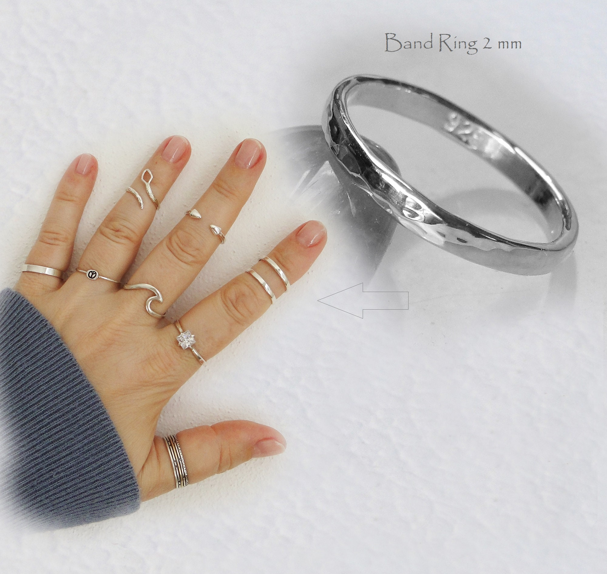 dfcef72f7da7d Band ring 2mm Stacking ring Toe Midi Above knuckle ring 925 Sterling Silver  Adjustable or Band ring Size US 0 up to US 16 Plain or Oxidized