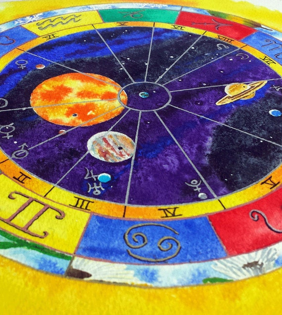 Aries Natal Chart Art Astrological Birth Chart Painting Etsy