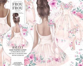ballet clipart ballerina girl clip art little dancer illustration nursery baby shower birthday pastel peach roses tutu dress pointe shoes