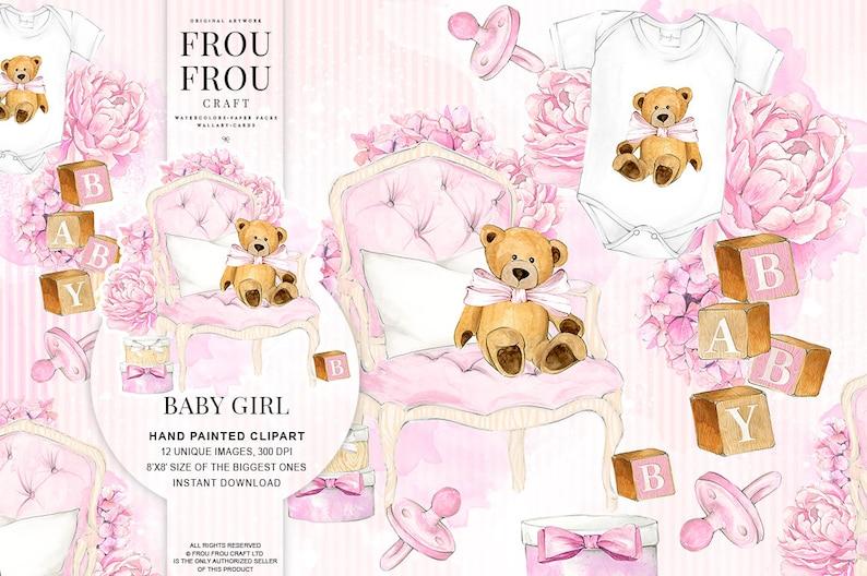 Baby Clipart Baby Girl Clip Art Pregnancy Nursery Watercolor Etsy