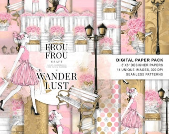 Paris Paper Pack Fashion Digital Backgrounds Travel Girl Wanderlust Seamless Patterns Architectural Girly Poster Pink Gold Shopping