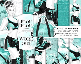 Sport Paper Pack Fashion Digital Backgrounds Girl Mint Graphics Yoga Phone Wallpaper Green Seamless Patterns Work Out Decals Motivational