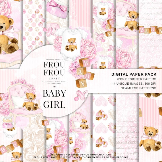 baby paper pack baby girl scrapbook nursery background pink etsy