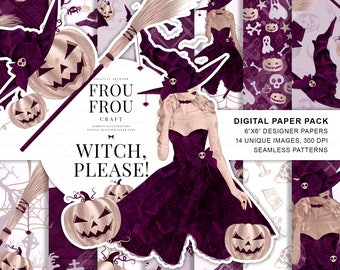 Halloween Paper Pack, Witch Digital Paper Pack, Fashion Girl Thanksgiving Fabric, Purple Rose Gold Pumpkin Fall Autumn Broom Cute Stickers