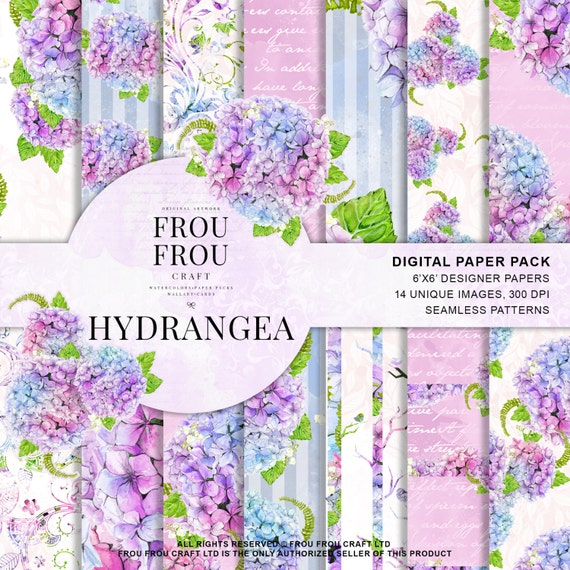 Watercolor Paper Pack Hydrangea Scrapbook Blue Floral Etsy