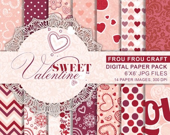 Hearts Valentine Love Digital Paper, Love Valentine Printable, Love Paper Pack, Red Valentine, Hearts Valentine Gift Wrap, Hearts Background
