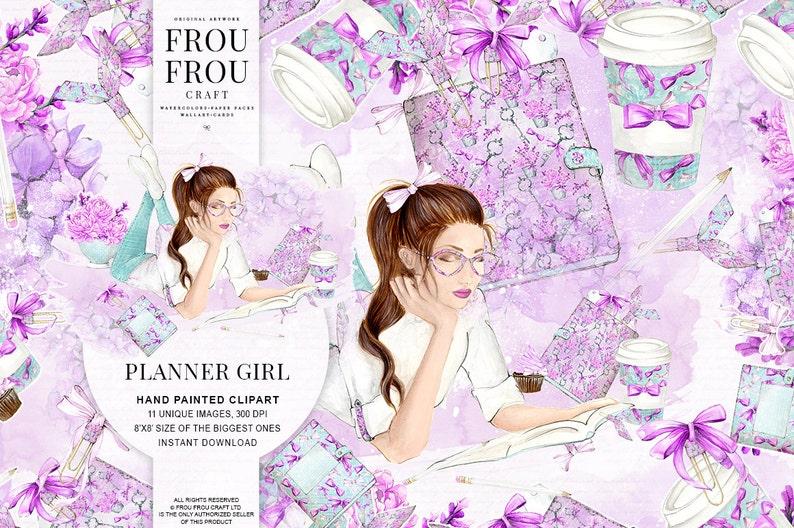 School Clipart Planner Girl Clip Art Fashion Illustration Planner Cover Girly Pastel Watercolor Floral Handpainted Lavender Purple EC Plan