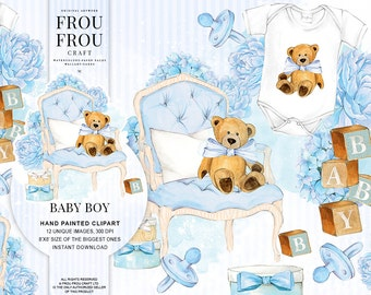 Baby Boy Clipart Baby Clip Art Baby Shower Invitation DIY Pack Watercolor Nursery Pastel Blue Toys Baby Announcement Teddy Bear Printable