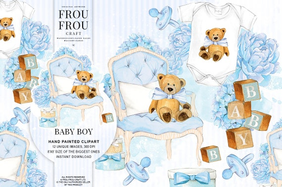 Baby Boy Clipart Baby Clip Art Baby Shower Invitation Diy Pack Etsy
