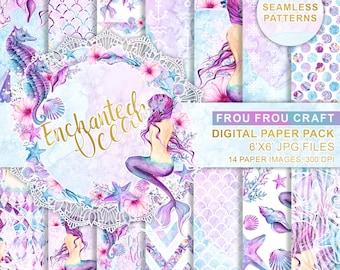 Mermaid Paper Pack Watercolor Sea Scrapbook Underwater Background Seahorse Summer Seamless Patterns Printable DIY Pack Purple Pink Blue