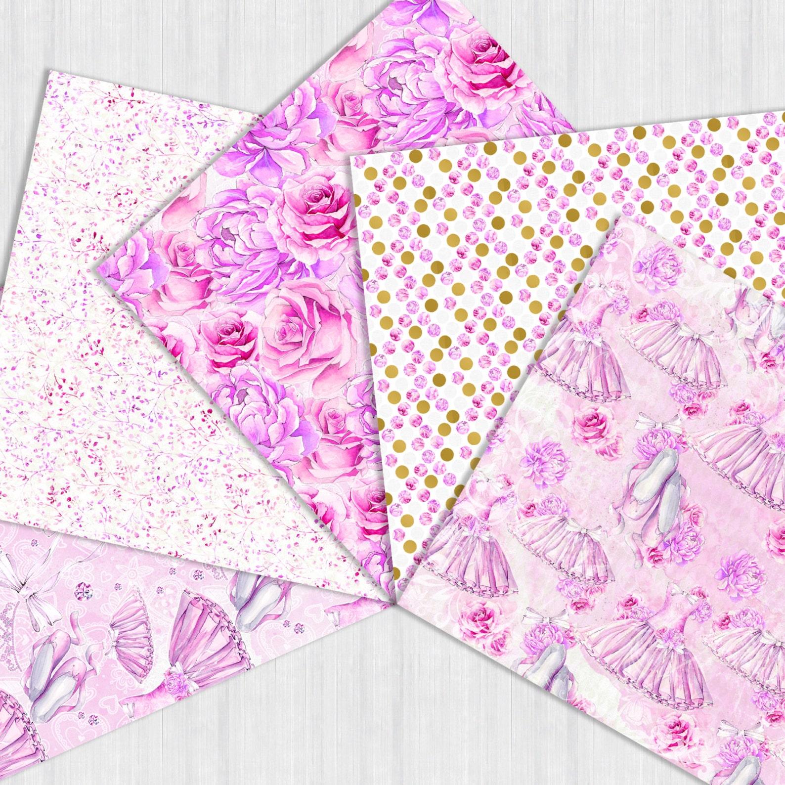 ballerina digital paper pack, ballet seamless patterns, watercolor ballet shoes, tutu dress, pink roses violet peonies, chick pr