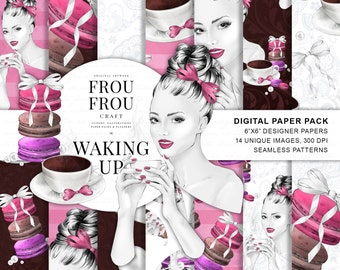 Coffee Paper Pack Fashion Illustration Desserts Digital Backgrounds Macaron Seamless Patterns French Macaroons Morning Planner Cover