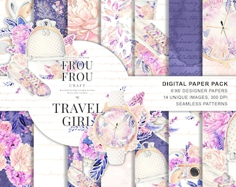 Fashion Paper Pack Travel Scrapbook Set Printable Planner Stickers Supplies Girly Digital Backgrounds Watercolor Floral Seamless Patterns