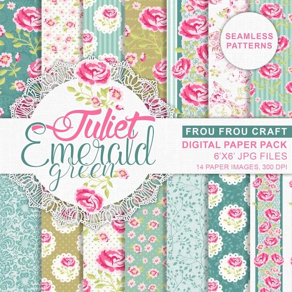 Scrapbook Paper Pad Mint Pink Roses Digital Stickers Retro Etsy
