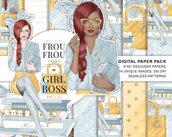 Planner Girl Paper Pack, Girl Boss Stickers, Office Wallpaper, Fashion Paper Pack, Fashion Illustration, African American Girl Stickers