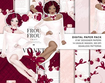 African American Paper Pack, Fashion Girl Digital Paper Pack, African-American Girly Illustration, Phone Wallpaper, Fashion Wallpaper, Red