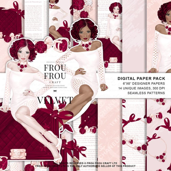 femenina Paquete estadounidensepapel de moda digitalilustración de de papel chica afroamericanopaquete teléfonomoda tapiz del QrthsxdC