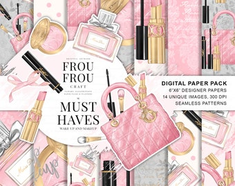 Makeup Paper Pack, Fashion Digital Backgrounds, Cosmetics Planner Stickers Supplies, Fashion Blog Beauty Blog Must Haves, Make Up Graphics