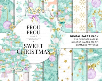 Christmas Paper Pack Christmas Digital Backgrounds Xmas Tree Scrapbook Paper Pastel Watercolor Invitation Fashion Blog Mint Planner Supplies