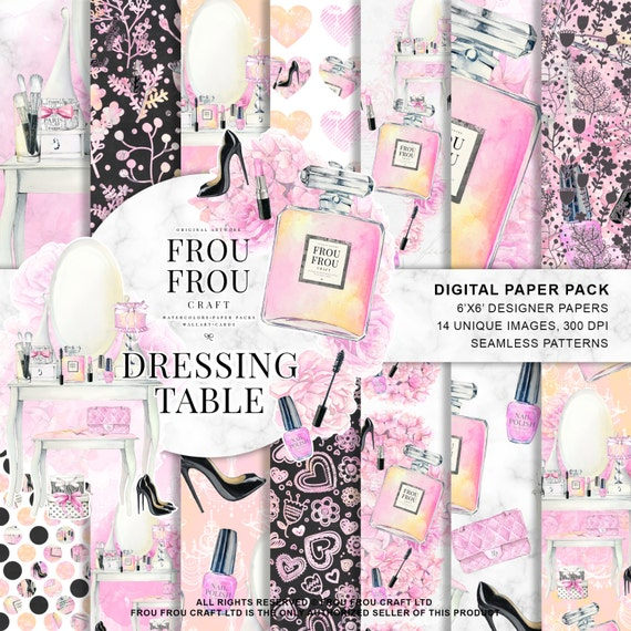 Girly Digital Paper Pack Cosmetic Scrapbook Papers Fashion Etsy
