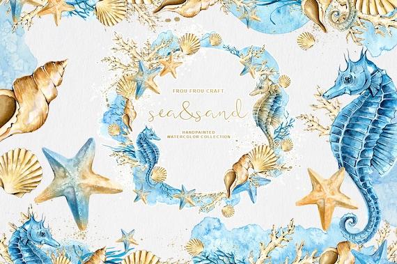 Watercolor Sea Clipart Nautical Clipart Seashells Sea Etsy