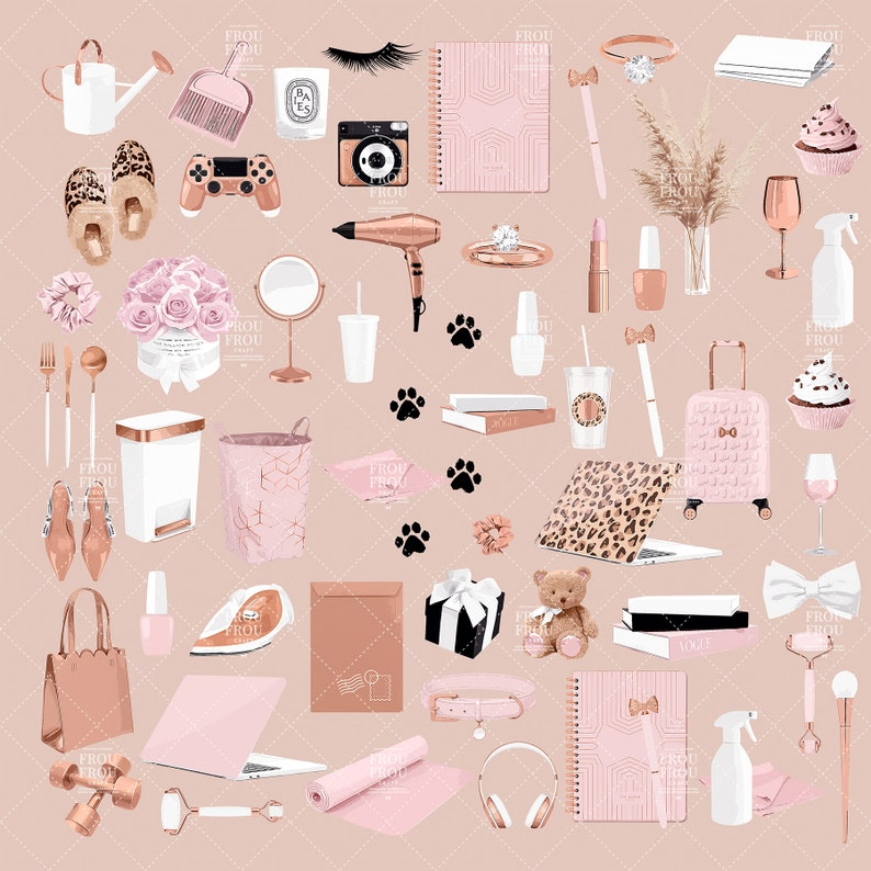 Pastel Pink Girly Clipart Basics Fashion Rose Gold Clip Art Functional Planner Stickers Chores Instagram Story Icons Covers Essentials