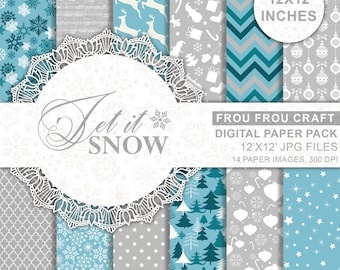 Blue Christmas Digital Paper Pack Instant Download Grey White Let It Snow New Year Chevron Snowfake Reindeer Winter Background 12x12 inches