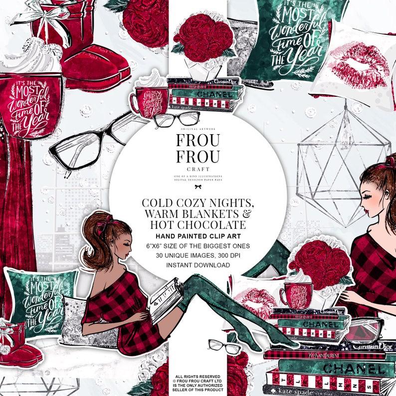 Cute Christmas Clipart Winter Scene Clipart Book Lover Planner Stickers Cabin Red Plaid Silver Glitter Coffee Fashion Girl Illustration