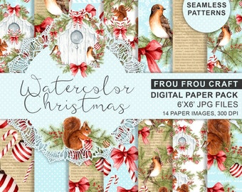 Christmas Paper Pack Xmas Digital Backgrounds Winter Scrapbook Paper Seamless Patterns Printable Planner Supplies Cute Candy Cane Squirrel