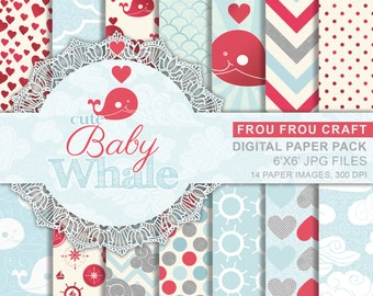 Cute Baby Printable Paper Pack, Nautical Whale Pattern Digital Paper, Polka Dot Digital, Chevron Navy Blue and Red Anchor Pattern Digital